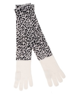 ALBEROTANZA Plain Sky Gloves Leopard White
