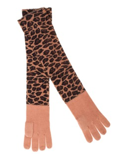 ALBEROTANZA Plain Sky Gloves Leopard Brown