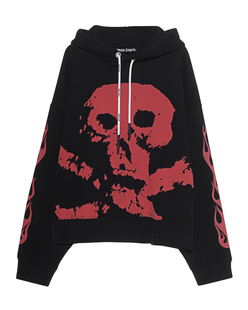 Palm Angels Hoodie Skull and Flames Black