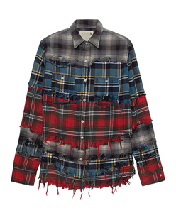 R13 Pieced Shirt Blue Plaid