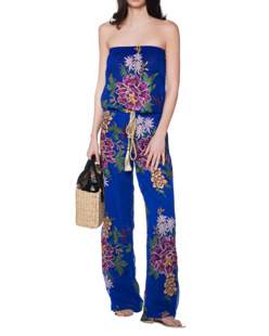 TAJ Off Shoulder Embroidery Blue