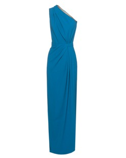 DSQUARED2 Draped One Shoulder Long Blue