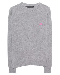 The Elder Statesman Pink Embroidered Simple Crew Grey
