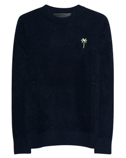 The Elder Statesman Embroidered Simple Crew Navy