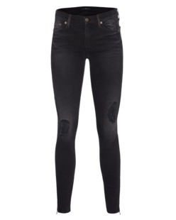 7 FOR ALL MANKIND The Skinny Crop Black Coal Distressed