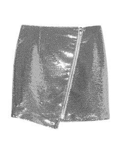 ZOE KARSSEN Asymmetric Zip Mini Skirt Sequins Silver