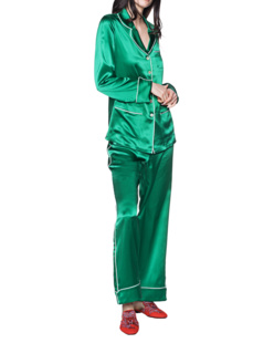 OLIVIA VON HALLE Silk Set Uni Green