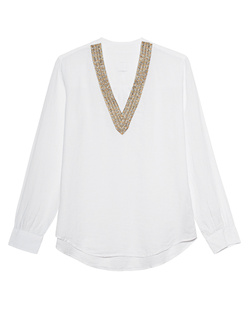 120% LINO V Neck Pearls Gold White