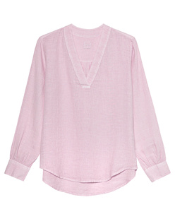 120% LINO V Neck Linen Mirage Rose