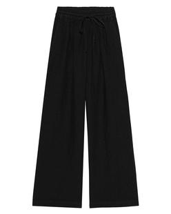 120% LINO Culotte Elastic Waist Linen Black