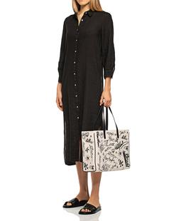 120% LINO Linen Long Button Black