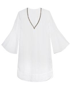 120% LINO Tunic V-Neck Rhinestone White