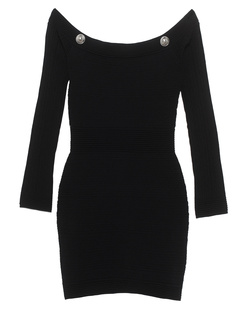 BALMAIN Off-Shoulder Button Black
