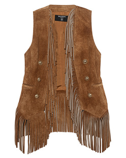 BALMAIN Fringed Vest Caramel Brown