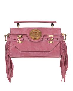 BALMAIN Baguette Suede Frings Pink