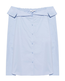 TIBI Notched Off The Shoulder Light Blue
