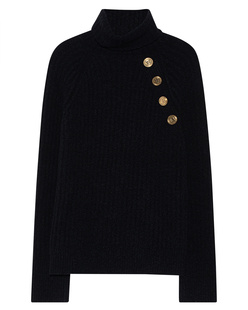 BALMAIN Turtleneck Button Black