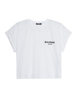 BALMAIN Cropped Flock Logo White