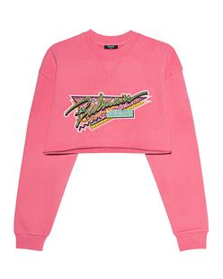 BALMAIN Cropped Rhinestone Pink