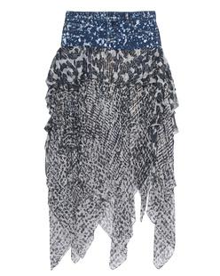 FAITH CONNEXION Denim Skirt Lur Print Navy