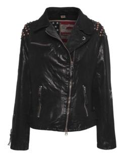 TRUE RELIGION Leather Biker Rivets Black
