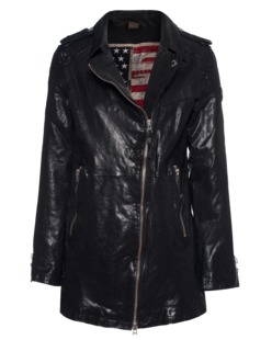 TRUE RELIGION Womens Leather Coat Black