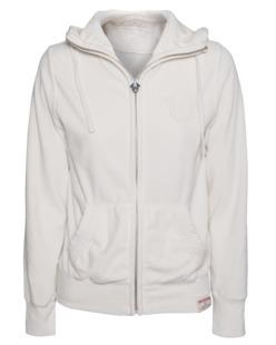 TRUE RELIGION Hooded Zip Velvet Off-White