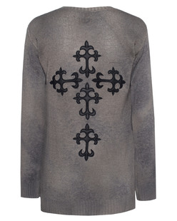 TRUE RELIGION Womens Round Neck Leather Cross Grey