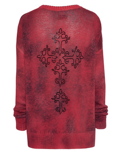 TRUE RELIGION Womens Round Neck Cross Red