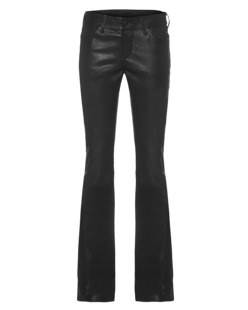 TRUE RELIGION Leather Flared Pant Black