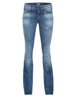 TRUE RELIGION Becca Mid Rise Bootcut Destroyed Blue