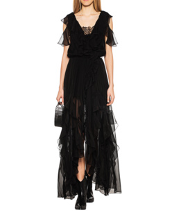 FAITH CONNEXION Asymmetric Frill Dress Black