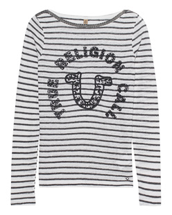 TRUE RELIGION Lace Stripe Black Off White