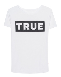 TRUE RELIGION Boxy Crew Logo White