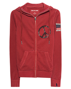 TRUE RELIGION Peace Hooded Zip Red