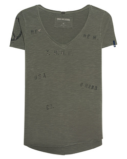 TRUE RELIGION Printed V Neck Olive