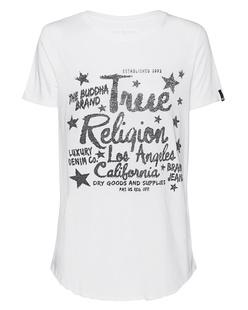 TRUE RELIGION Boxy Rhinestones White