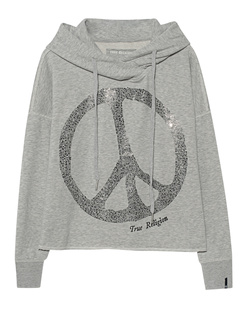 TRUE RELIGION Crop Peace Rhinestone Light Grey