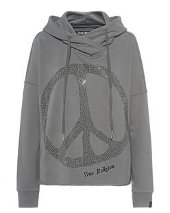 TRUE RELIGION Crop Peace Rhinestone Grey