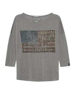TRUE RELIGION American Flag Rhinestones Grey