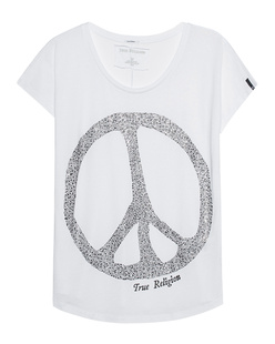 TRUE RELIGION Crew Peace Rhinestone White