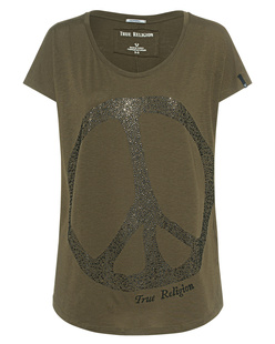 TRUE RELIGION Wide Crew Peace Deep Green