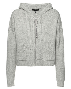 TRUE RELIGION Zipper Hood Ribbed Knit Grey