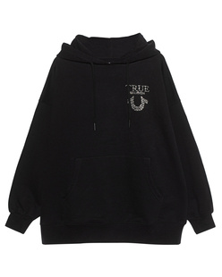 TRUE RELIGION Oversized Rhinestone Logo Black