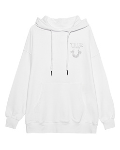 TRUE RELIGION Oversized Rhinestone Logo White