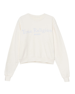 TRUE RELIGION Crew Neck Boxy Off White
