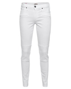 TRUE RELIGION Halle Mid Rise Super Skinny Biker Optic White