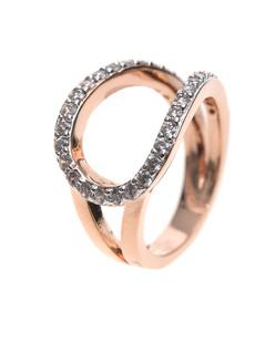 BRONZALLURE Loop Shiny CZ Stones Rose Gold
