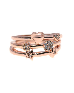 BRONZALLURE Three Shiny CZ Stones Rose Gold