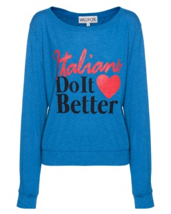 WILDFOX Italians Do It Better Baggy Beach Jumper Cobalt Sea